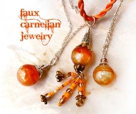 Amazing Orange Carnelian Faux Gemstone Pendants
