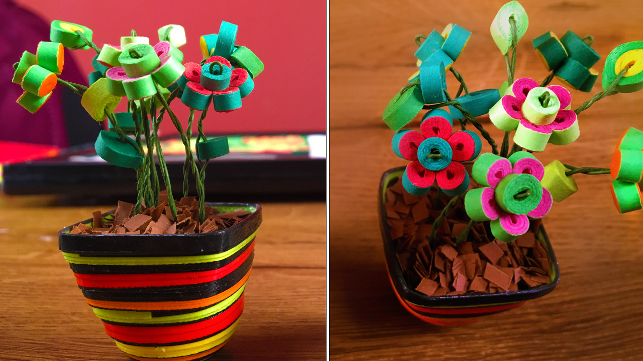 Picture of Miniature Quilled Flower Pot