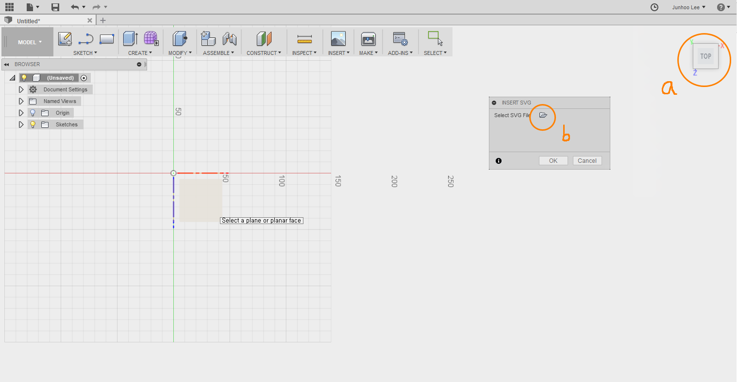 Picture of Start Fusion 360 and Insert SVG File