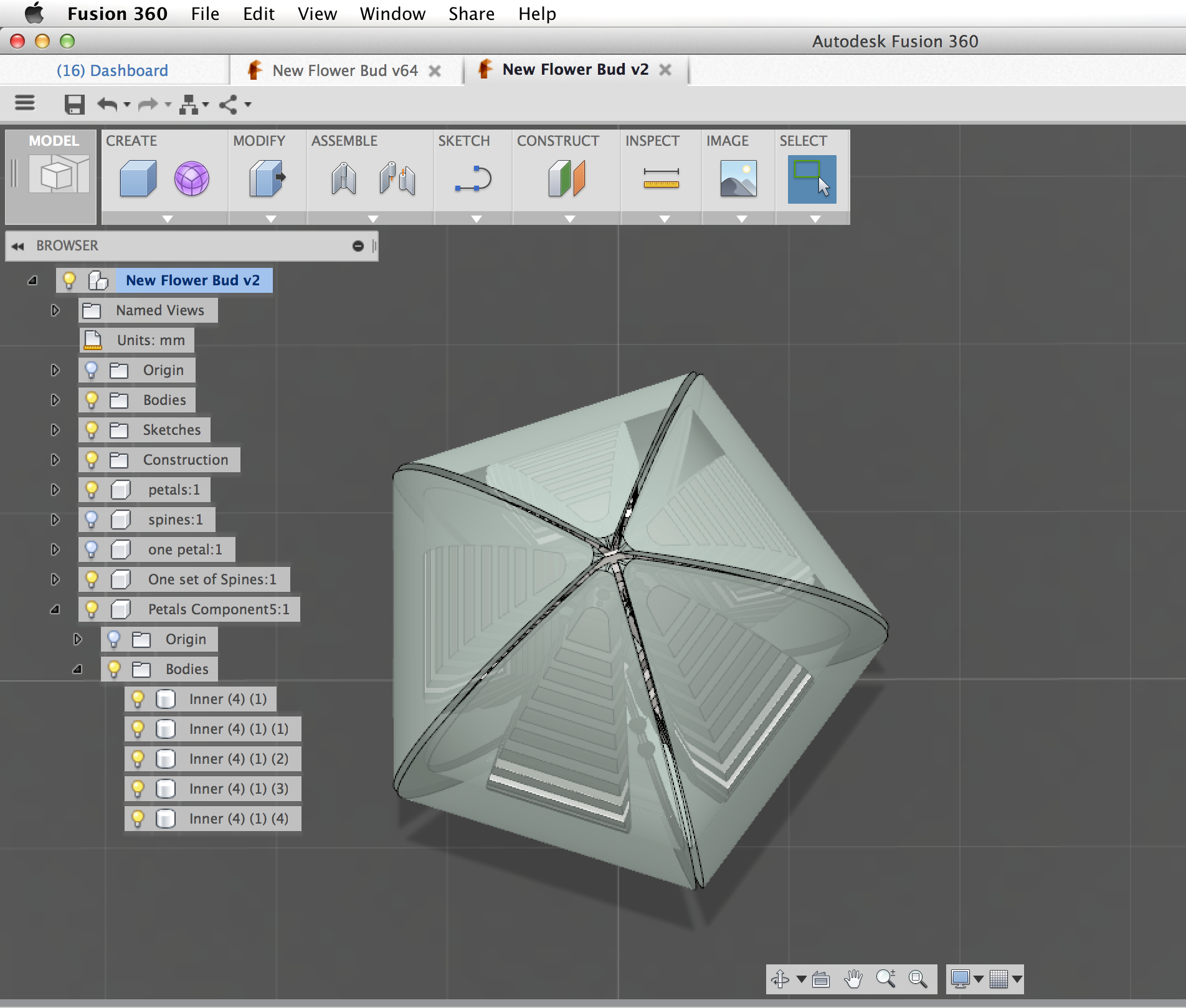 Picture of 3D Modeling the 5 Petaled Flower Bud