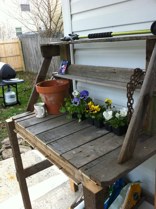 Wooden Pallete Potting Bench