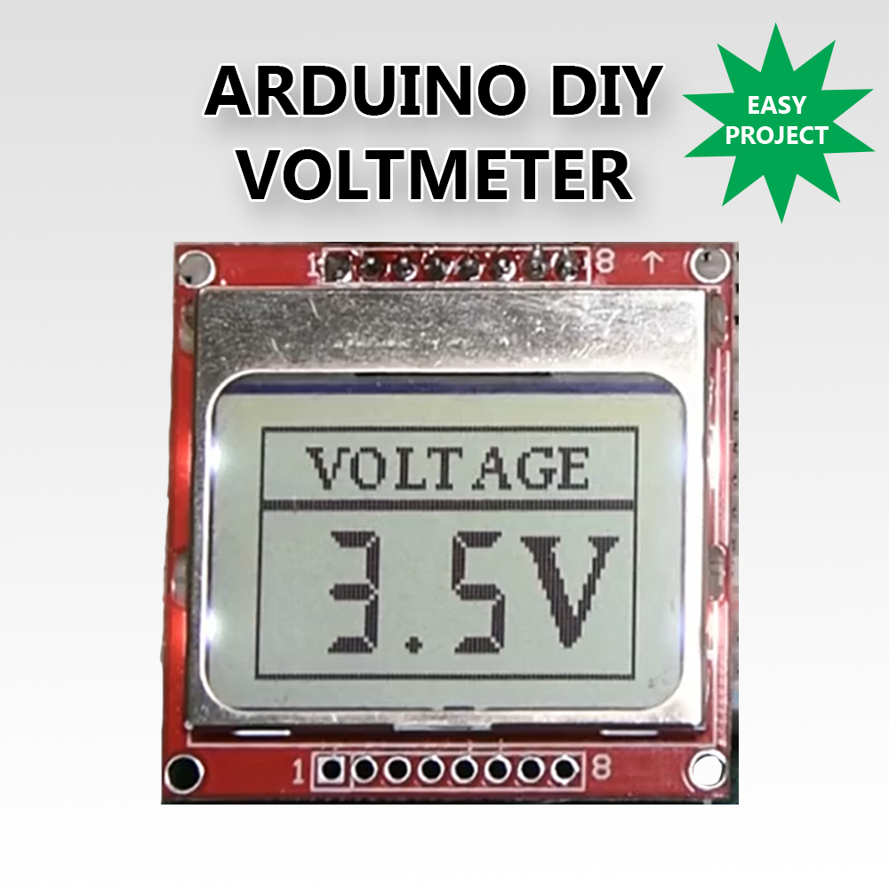 Picture of DIY Voltmeter With Arduino and a Nokia 5110 Display