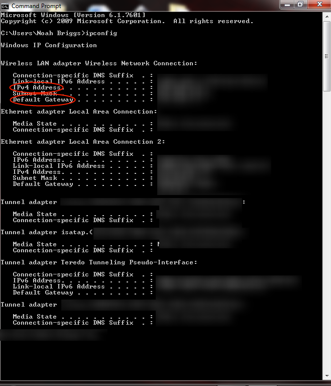 Picture of Port Forwarding (ipconfig Command)