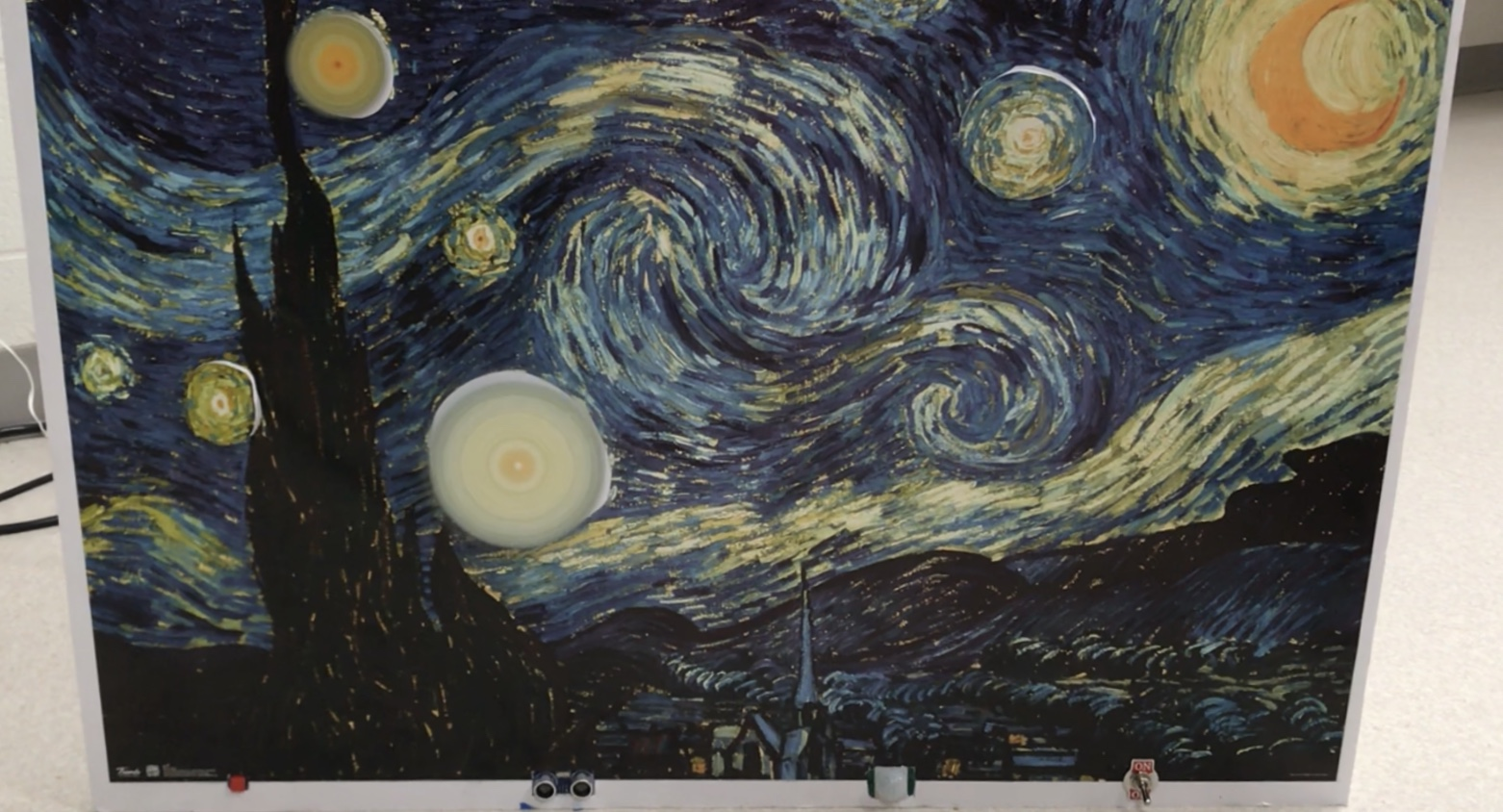 Picture of Starry Night by Vincent Van Gogh With Spinning Stars