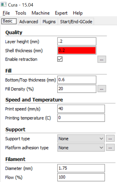 Picture of Slicing Settings