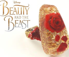 ?Beauty and the Beast Inspired Rose Resin Ring Tutorial-Polymer Clay