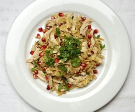 Poached Chicken with Pomegranate Orzo