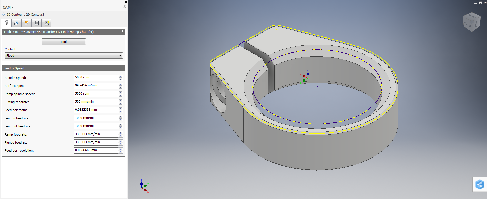 Picture of 2D Millling: 2D Contour Chamfer
