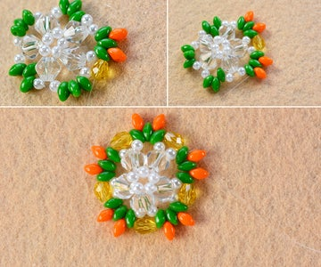 Make the Second Part of the 2-hole Seed Bead and Pearl Star Earrings