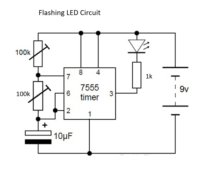 Picture of Flashing LED Circuit