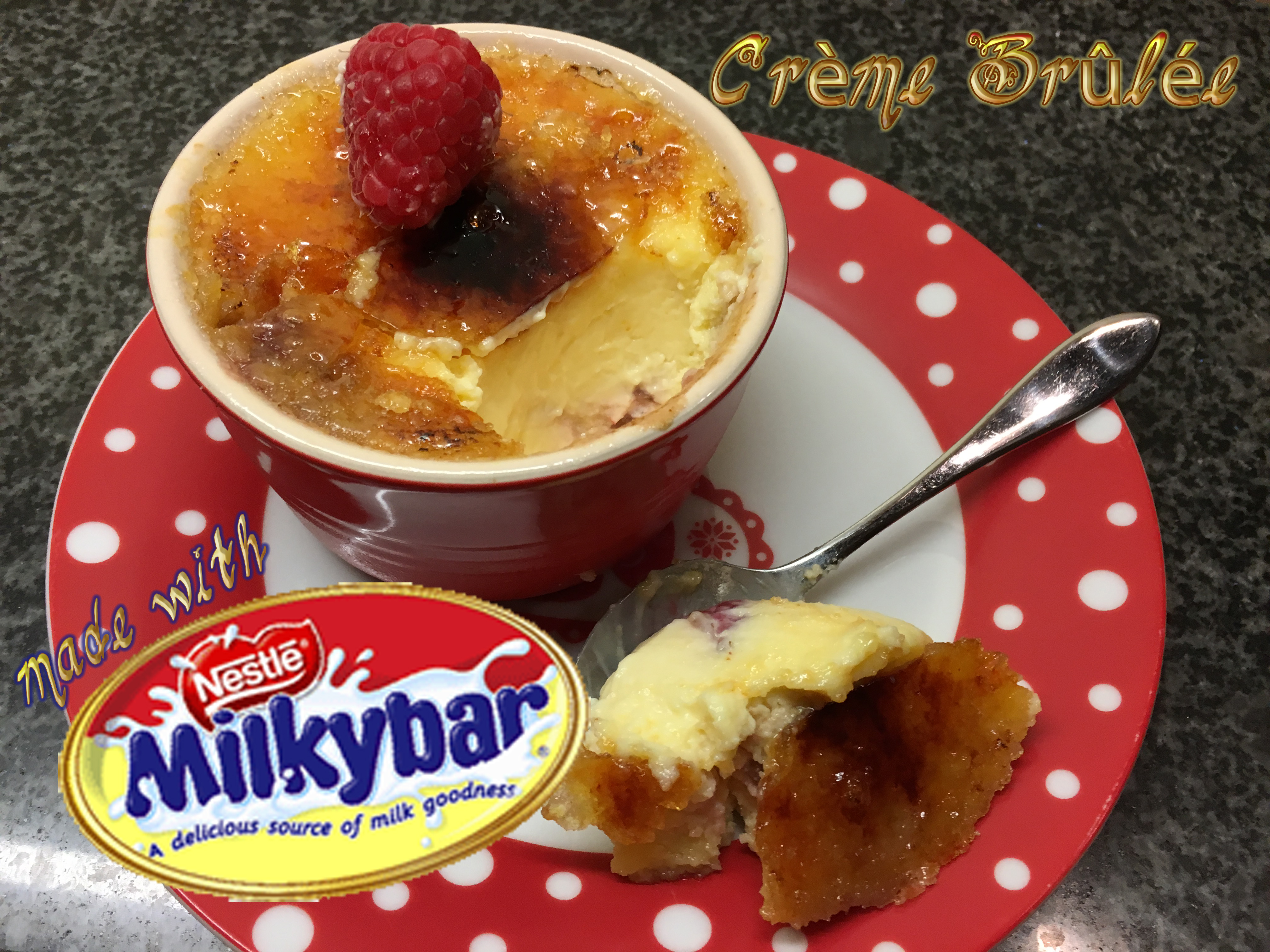 Picture of White Chocolate and Raspberry Crème Brûlée Made With Milkybar