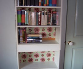 Decoupage a Bookshelf with Fabric