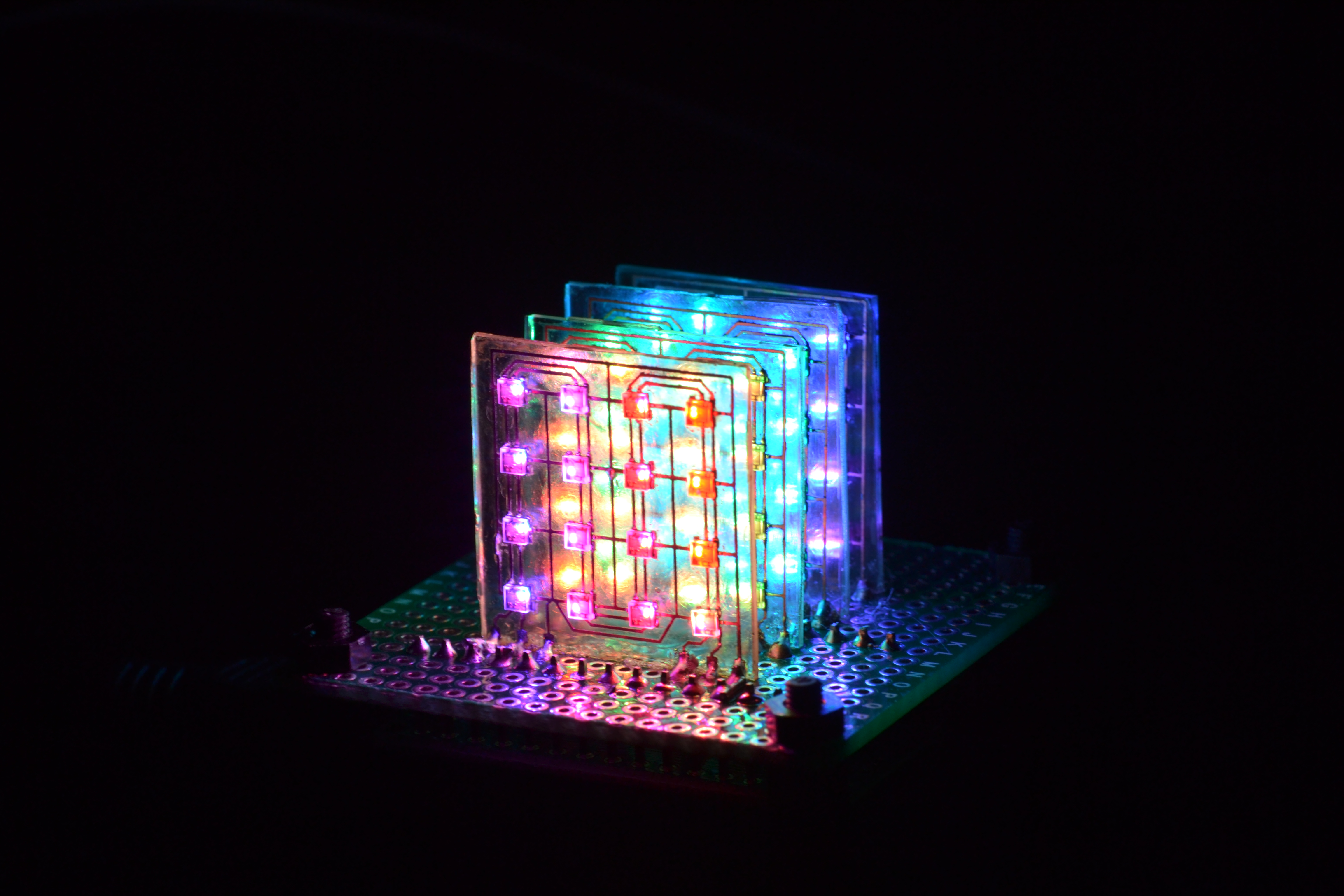 Picture of 4x4x4 DotStar LED Cube on Glass PCBs