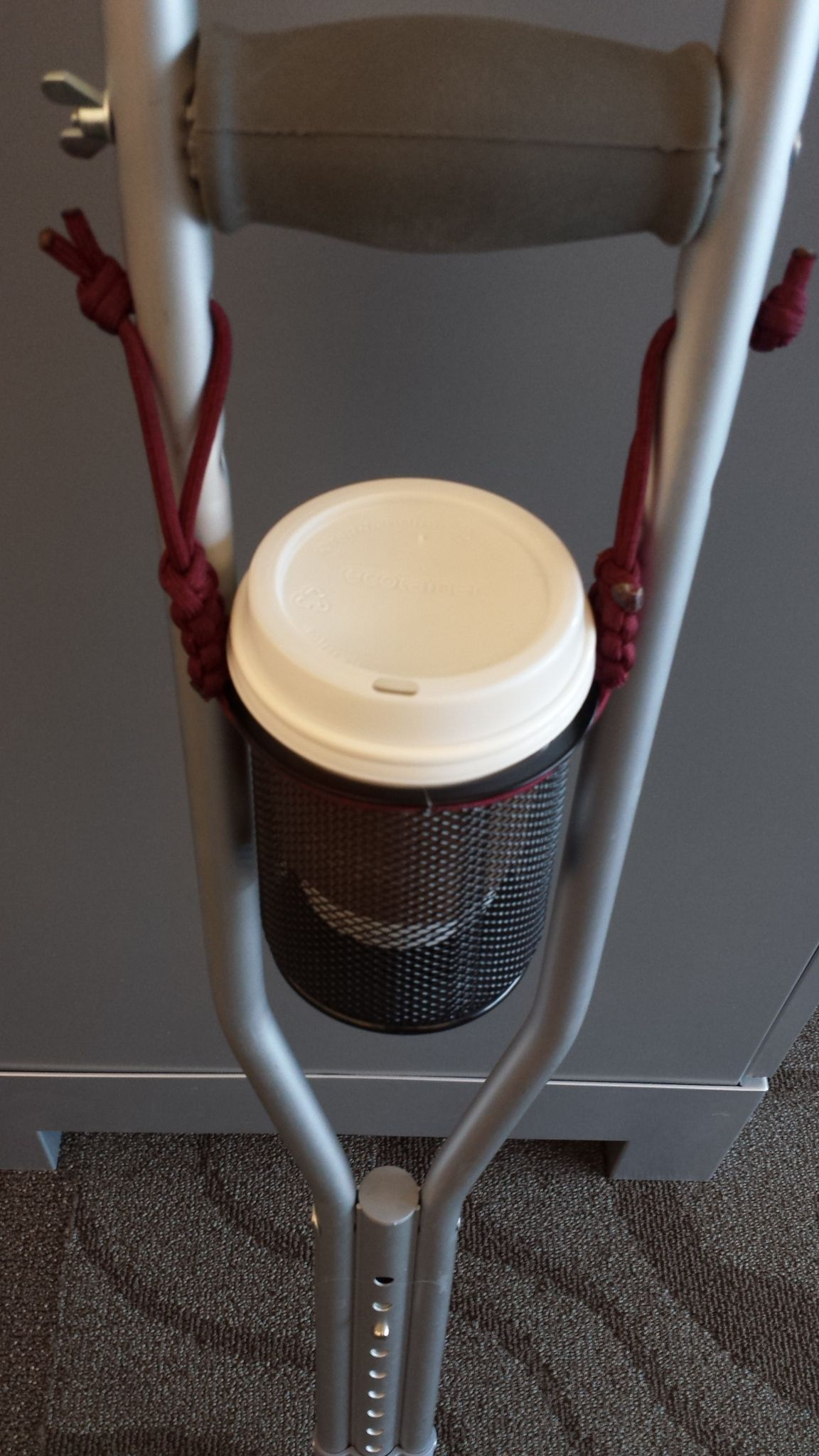 Picture of Cup Holder Made From Paracord and an Office Pen Cup