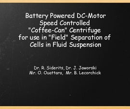 Battery operated centrifuge for cell separation in fluid suspension.
