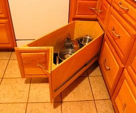 Homemade kitchen corner drawers