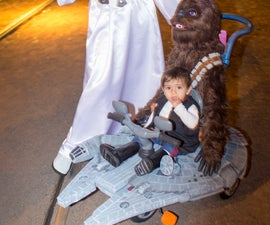 Millennium Falcon Tricycle With Chewbacca Teddy and Han Solo Costume