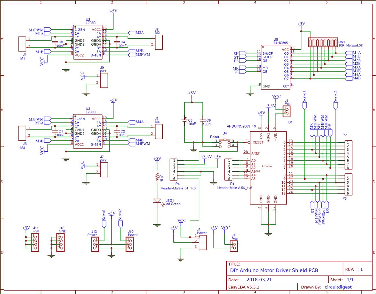 Picture of Arduino Motor DriverShield Circuit
