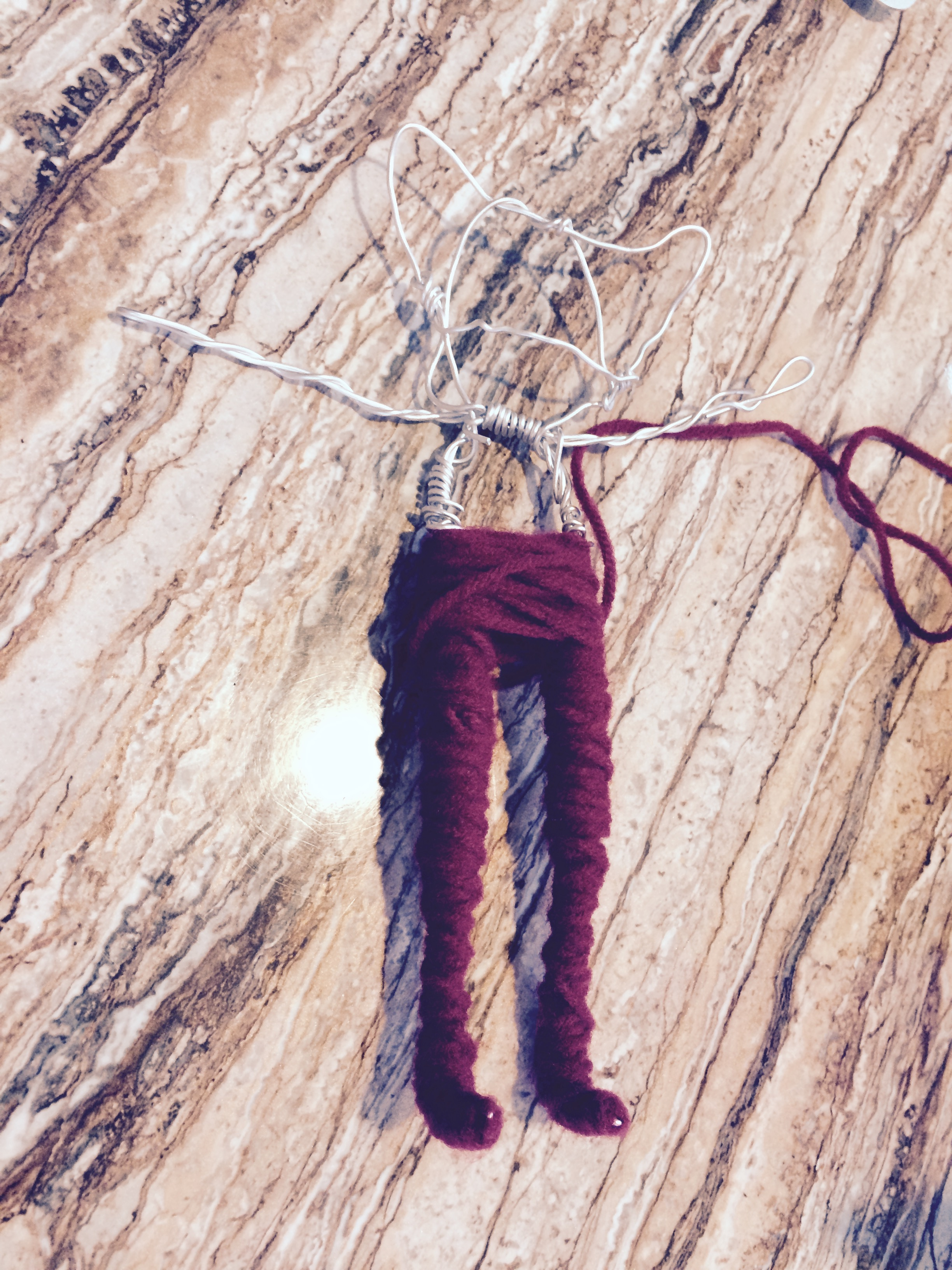 Picture of Start Wrapping the Legs in Yarn