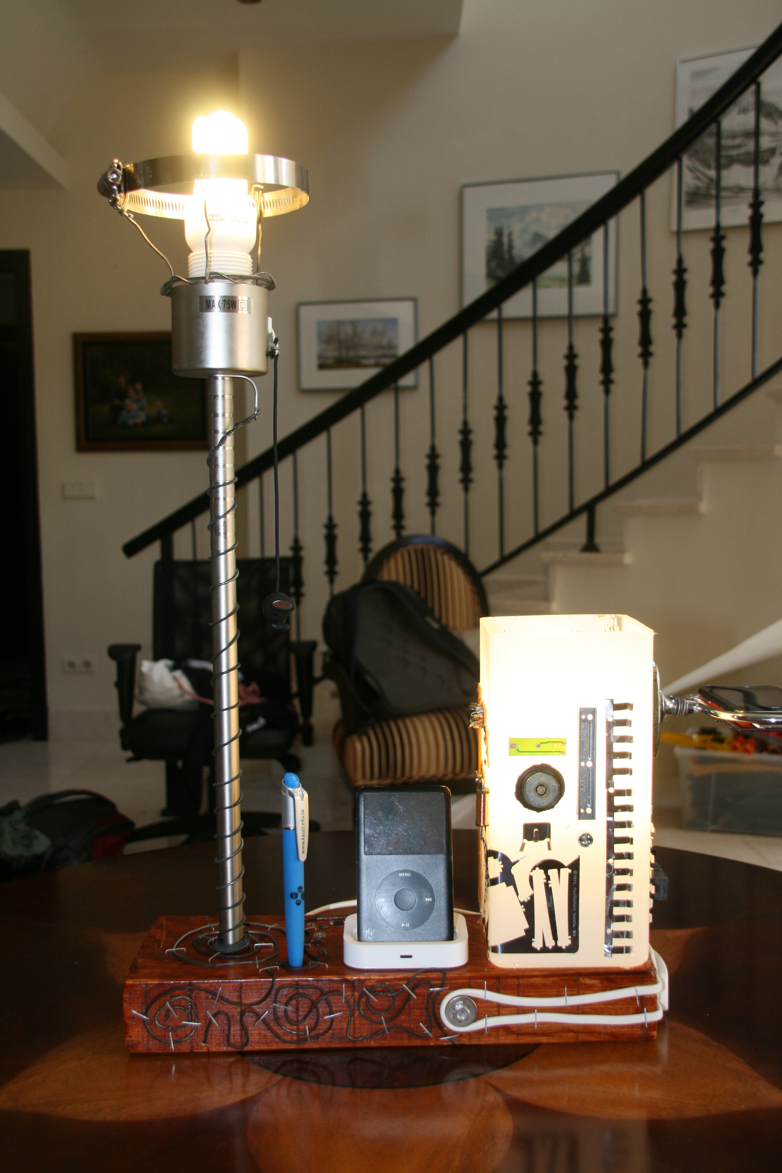 Picture of Bedside Table Dual Lamp With IPod Docking Station