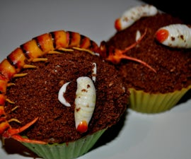 Centipede and Larvae cupcake