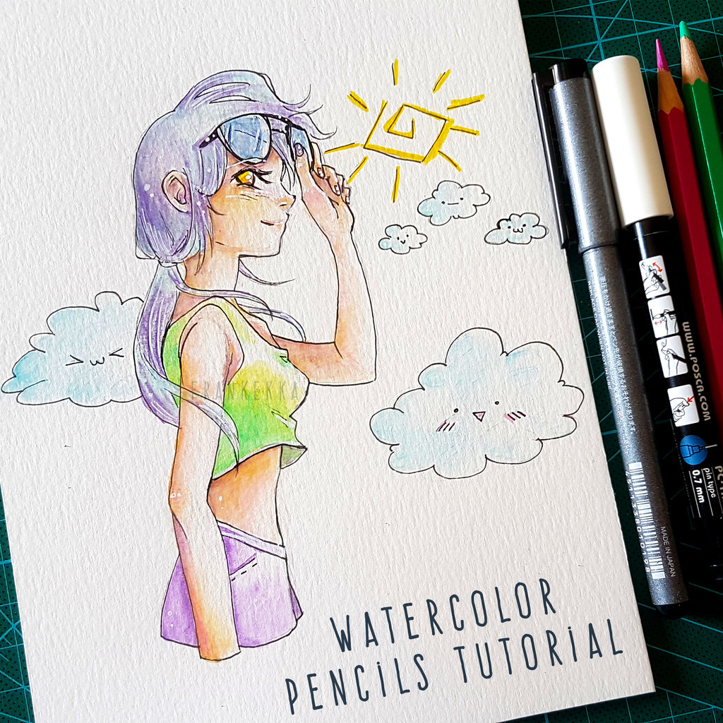 Picture of HOW TO DRAW ANIME GIRL WITH SUNGLASSES - WATERCOLOR PENCILS TUTORIAL