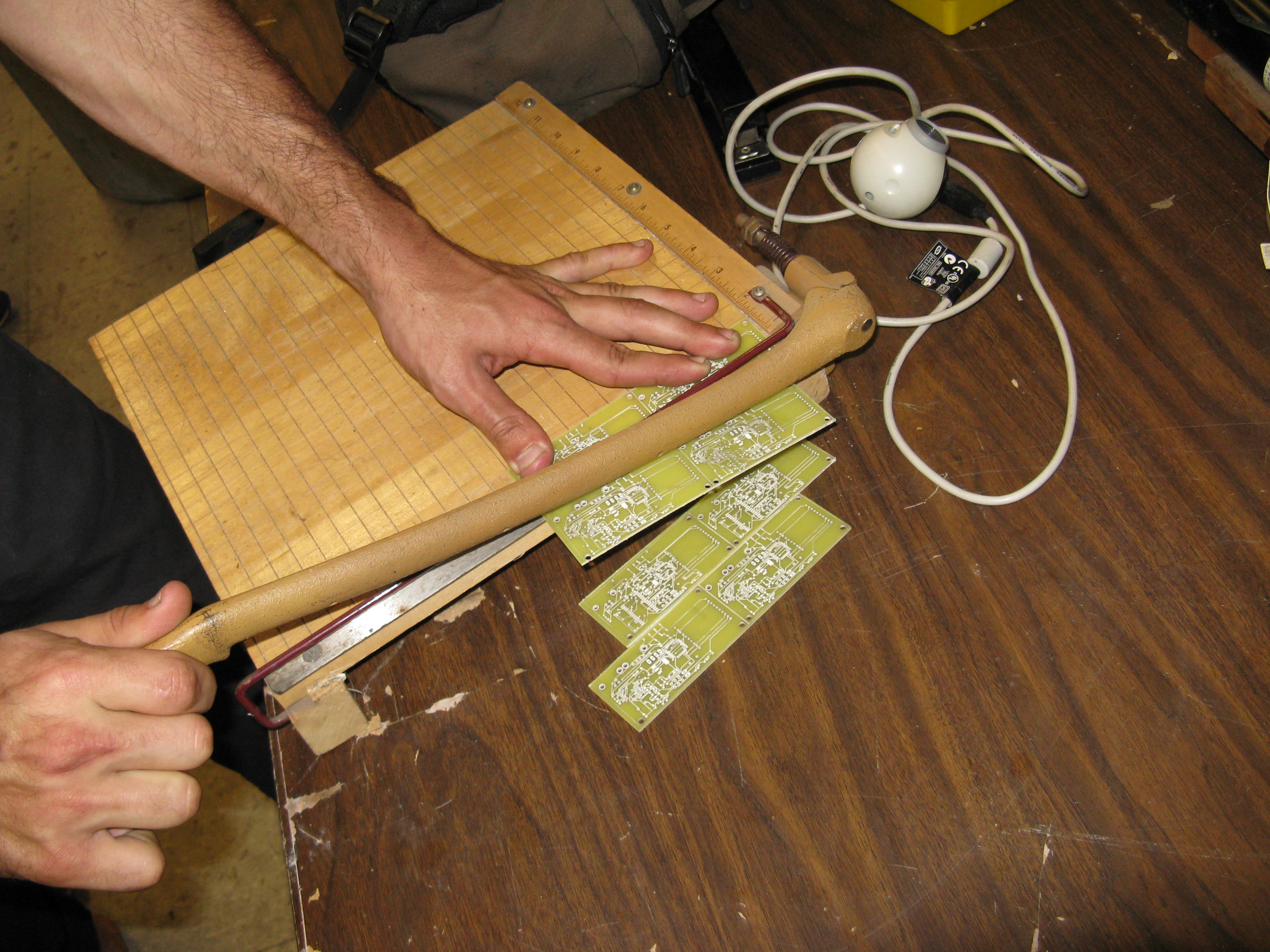 Picture of Cut Circuit Boards With a Paper Cutter