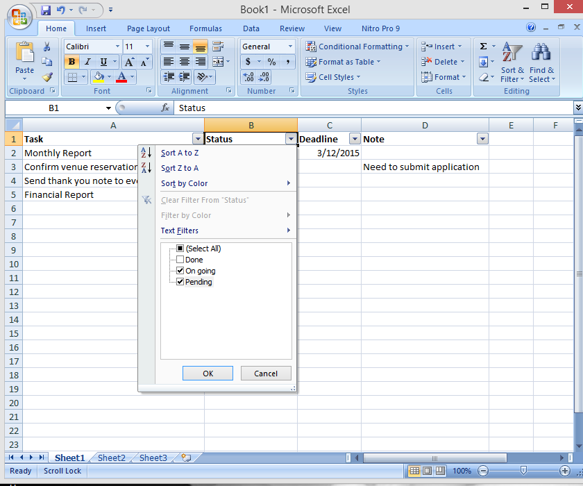 Create a Simple, Effective To-do List Using Excel Filter Feature