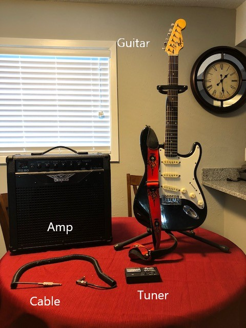 Picture of Gather the Guitar and Hardware Needed.