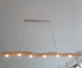 Natural wood diner table LED lamp