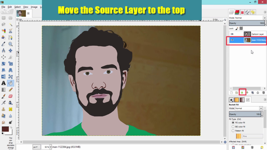 Move the Source Layer to the Top of the Cartoon Layer