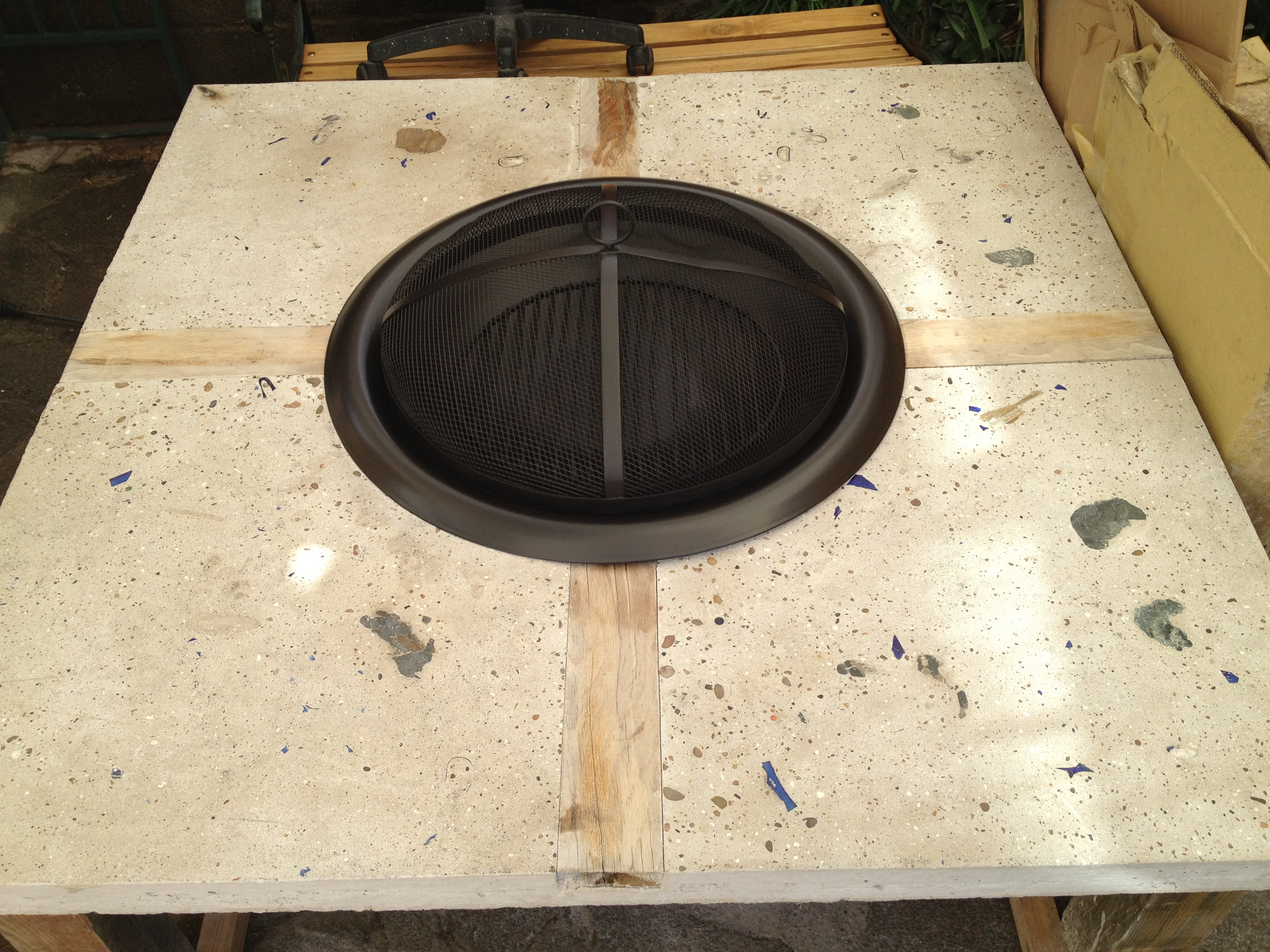 Picture of Spray Firepit, Seal Conctrete, Varnish the Oak