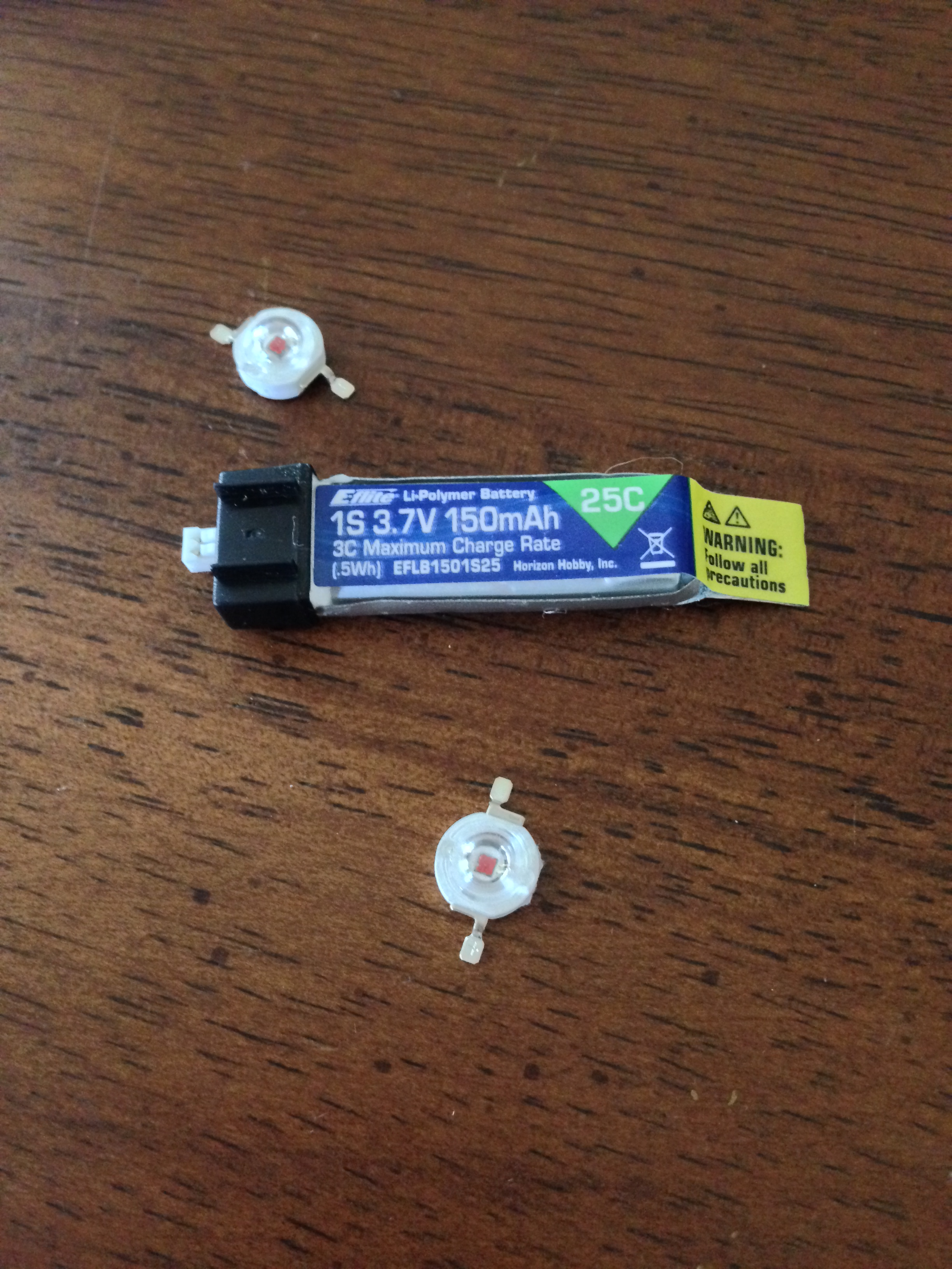 Picture of Help! How can I power 2 1w LEDs with a 3.7V e-flite battery?