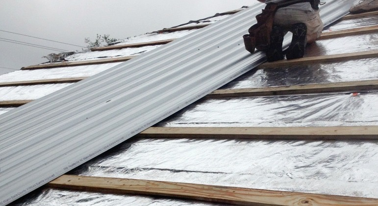 Picture of Reroofing With Corrugated Metal and Radiant Barrier Over Asphalt Shingles in 3 Steps!