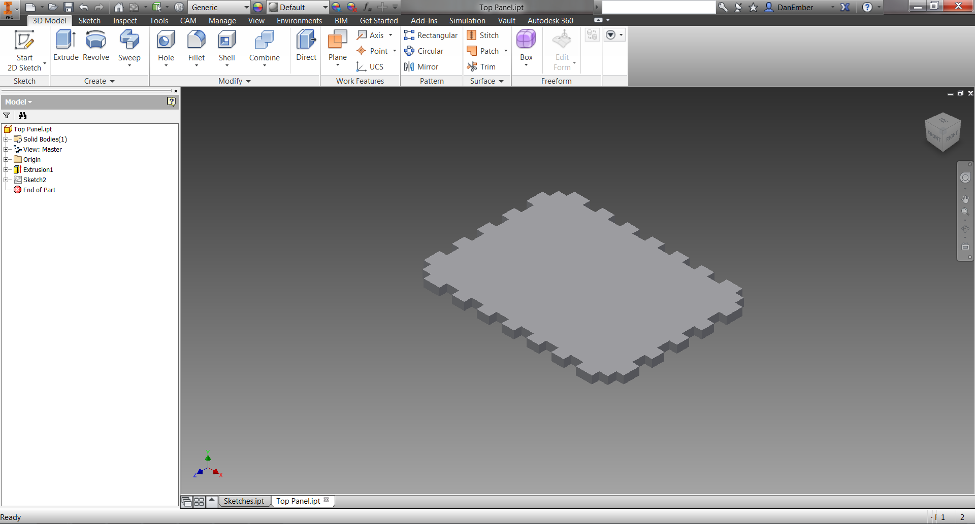 Picture of Close Sketch and Extrude