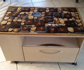 Artsy resin wood top for freebie end table