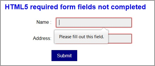 Picture of HTML Required Fields