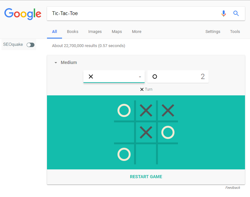 Picture of Play Tic-Tac-Toe on Google