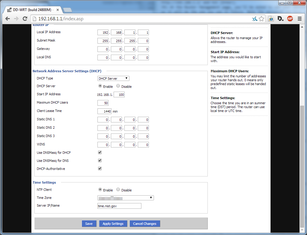 Picture of Configure Time Settings