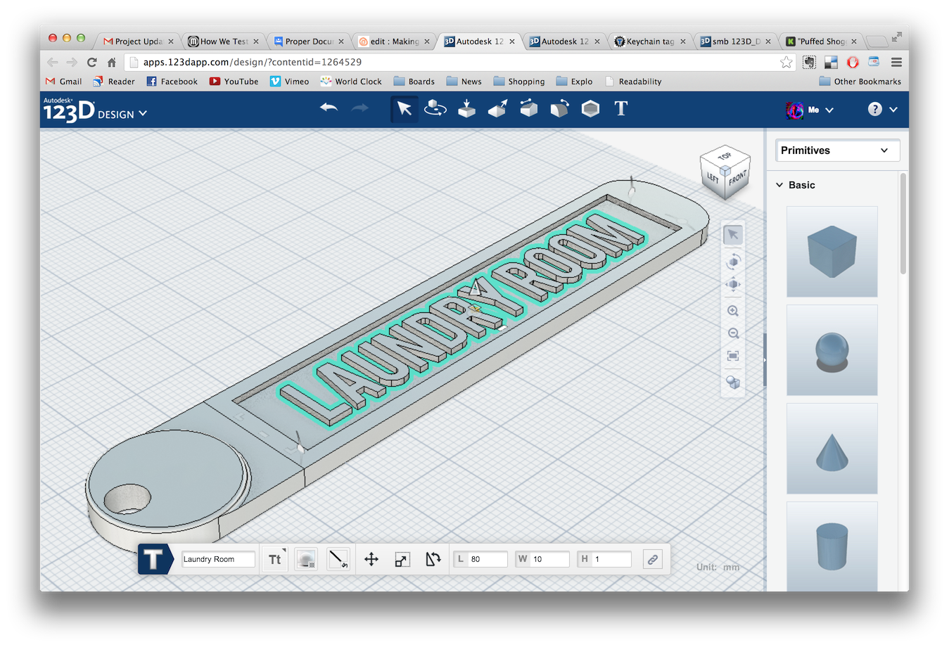 Picture of Making a Customizable Key Tag Using 123D Design Online