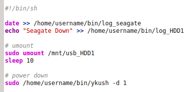 Picture of The Second Script: Unmount and Power OFF the USB HDD