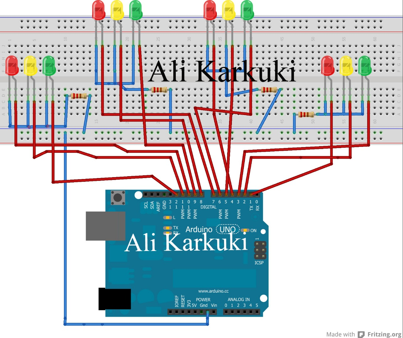 Picture of Traffic Light 4 Way. Using Arduino Uno