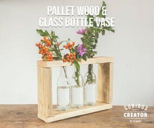 Pallet Wood & Glass Bottle Vase