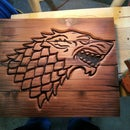 House Stark crest from trash wood