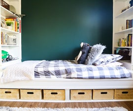 DIY Storage Daybed With Build-in Shelves
