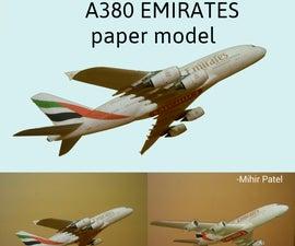 A380 Emirates Paper Model 1:132