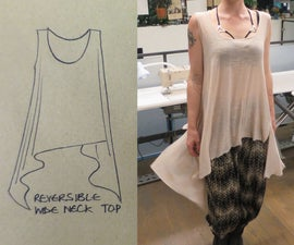 Reversible Drape Tshirt With French Seams and Binding