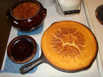 Homemade BEAN POT Baked Beans & SKILLET Corn Cake.