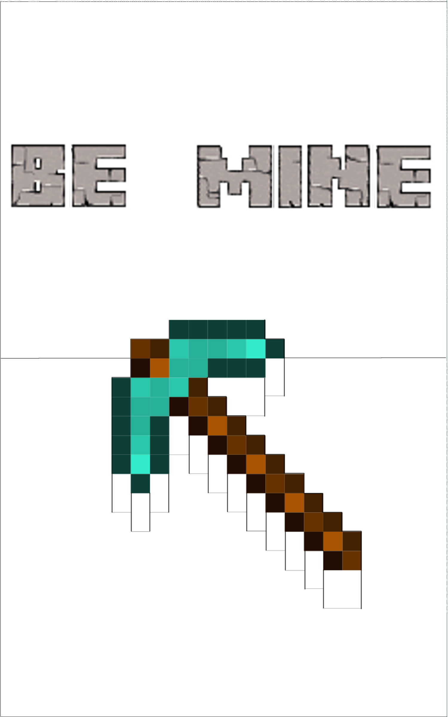 Picture of Minecraft Pick Axe Valentine Pop-up Card