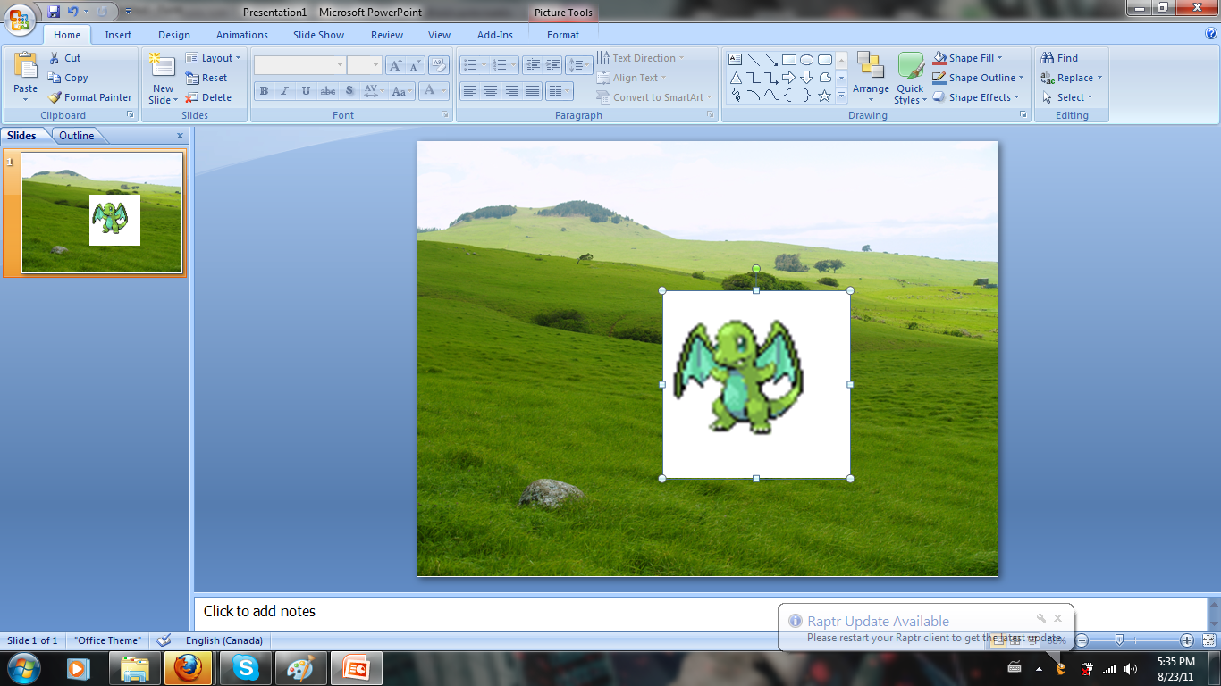 Picture of Putting the Sprites on PowerPoint